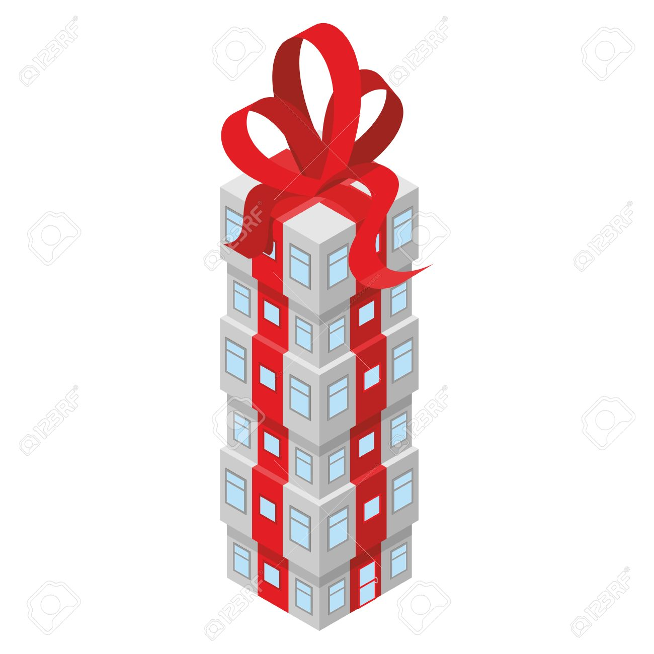 Geschenk Gebäude Mit Roter Schleife. Bürogebäude Mit Dem Roten Band ...