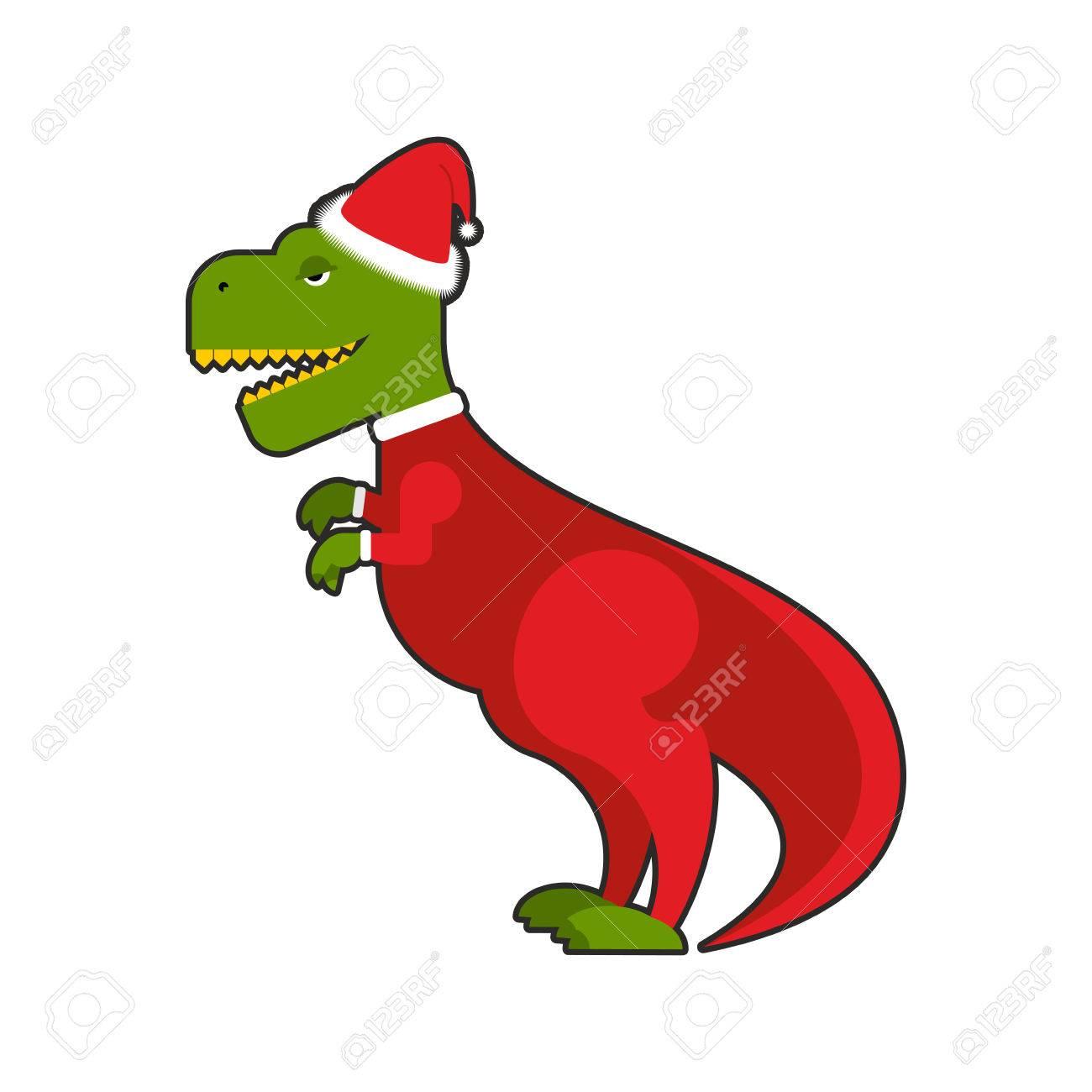 Christmas Dinosaur.Santa Claus Tyrannosaurus Christmas Good Dinosaur Christmas