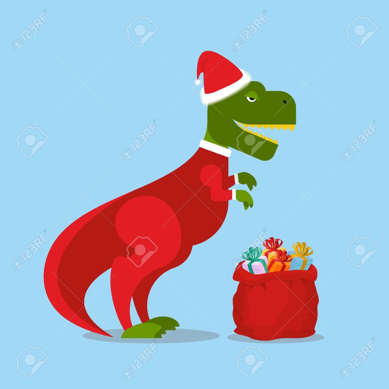 T Rex Christmas.Dinosaur Santa Claus T Rex In Christmas Hat Tyrannosaurus