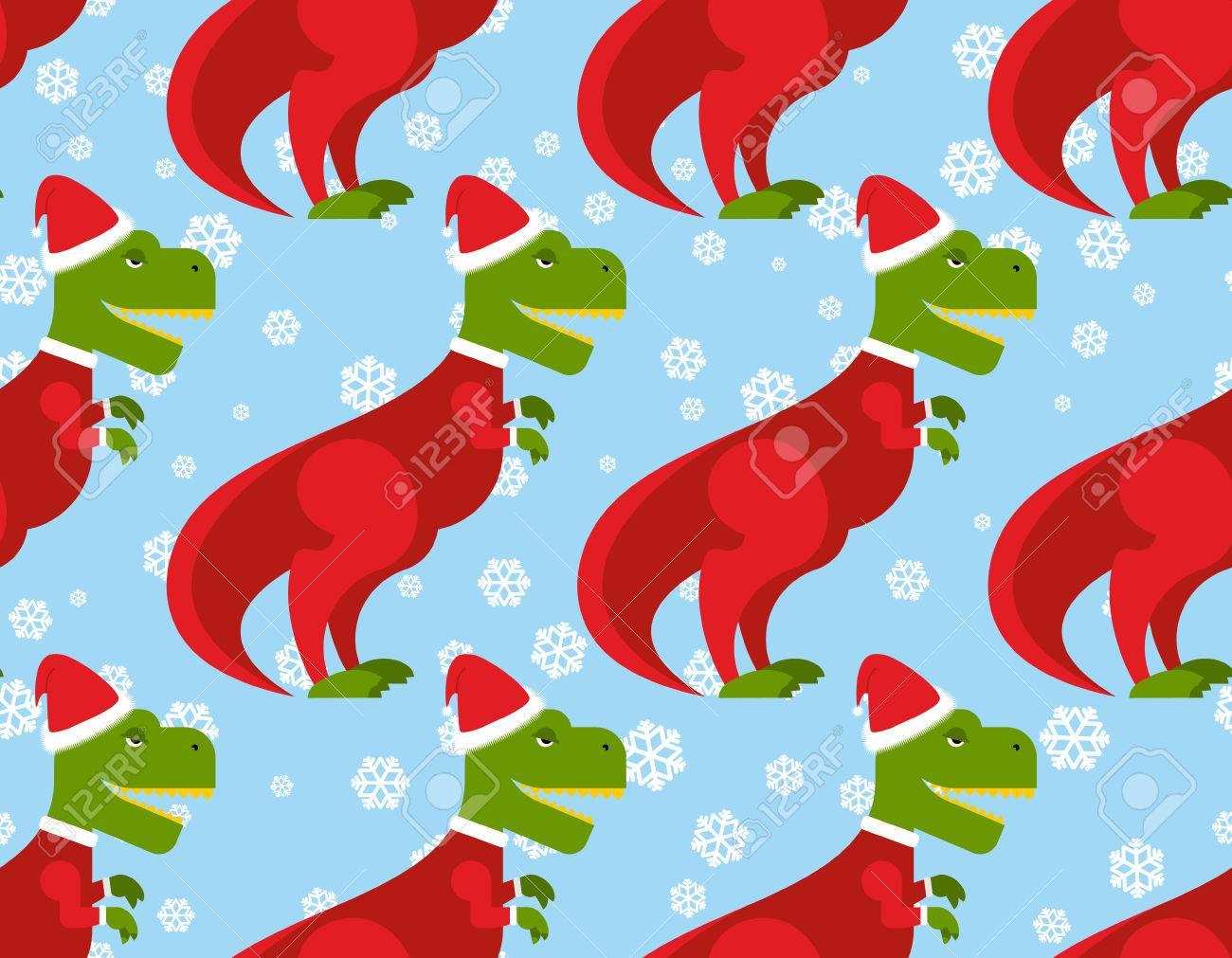 Dinosaur Christmas.T Rex Santa Claus Seamless Pattern Christmas Dinosaur Backdrop