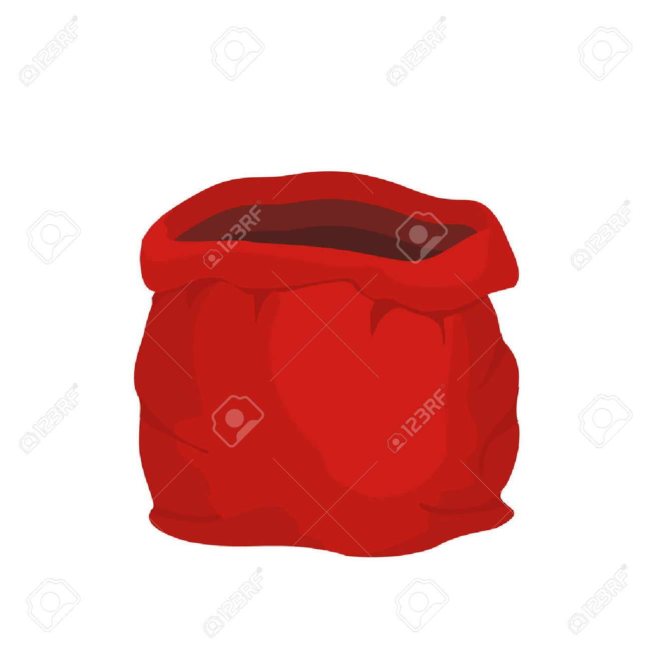 Open Empty Sack Santa Claus. Red Big Bag For Gifts. Christmas ...