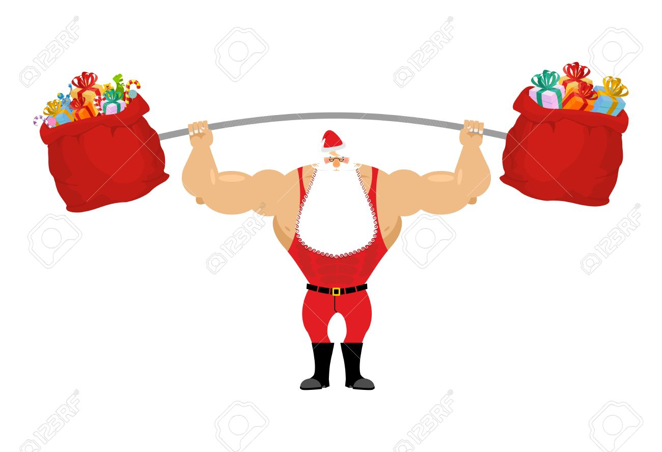 Strong Santa Claus holding barbell and gift bag. Sports for Christmas Santa with beard. Red bag with gifts for aggravation of rod. Powerful Santa in red sport suit. - 48639067