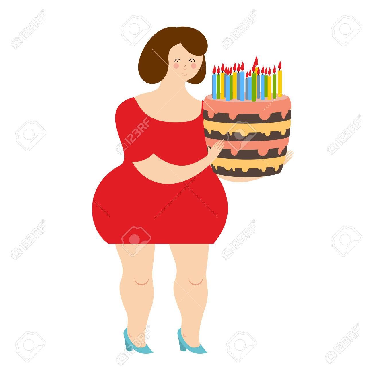 Geburtstag Frau Fat Fröhliche Mädchen Und Kuchen Mit Kerzen Frohe