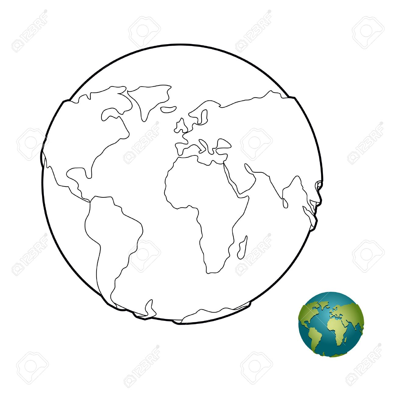 Earth Coloring Book. Heavenly Body. Planet With Mainlands. Globe ...