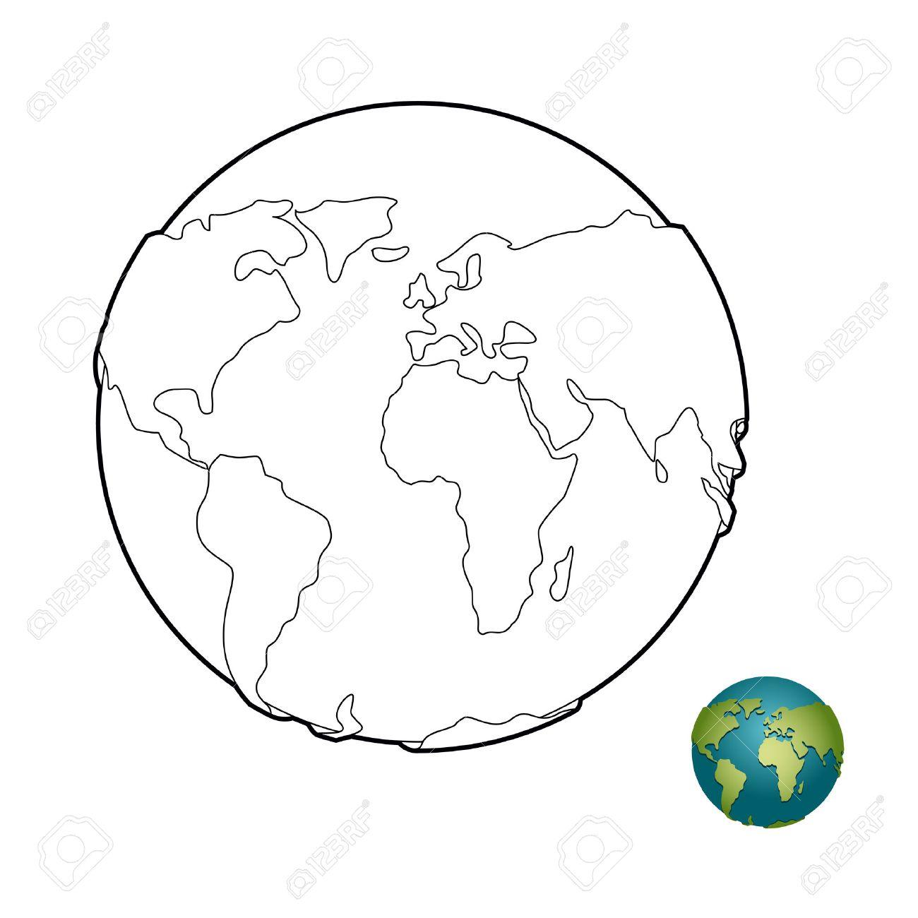 Livre De Coloriage De La Terre Corps Celeste Planete Avec Mainlands Globe Pour La Coloration Clip Art Libres De Droits Vecteurs Et Illustration Image 49364719