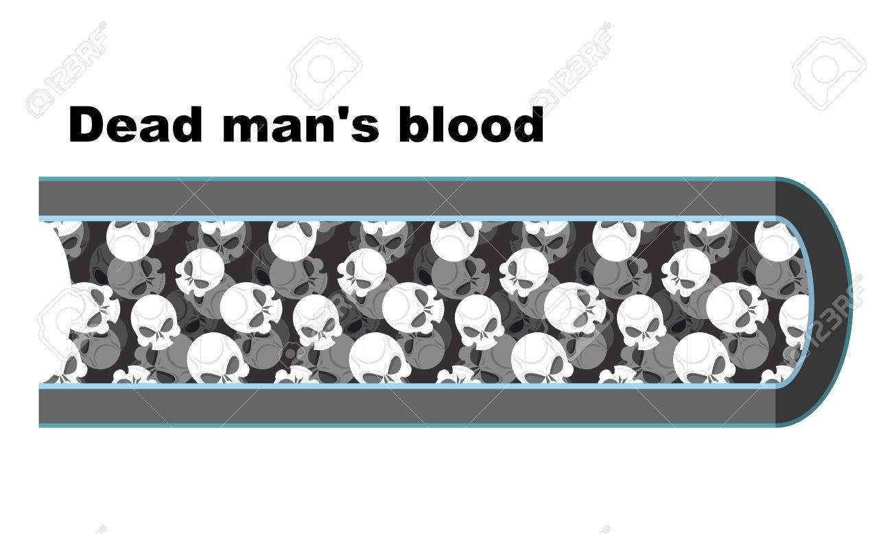 Blood Of Dead Man. Blood Cells In The Form Of Skulls. Anatomy ...