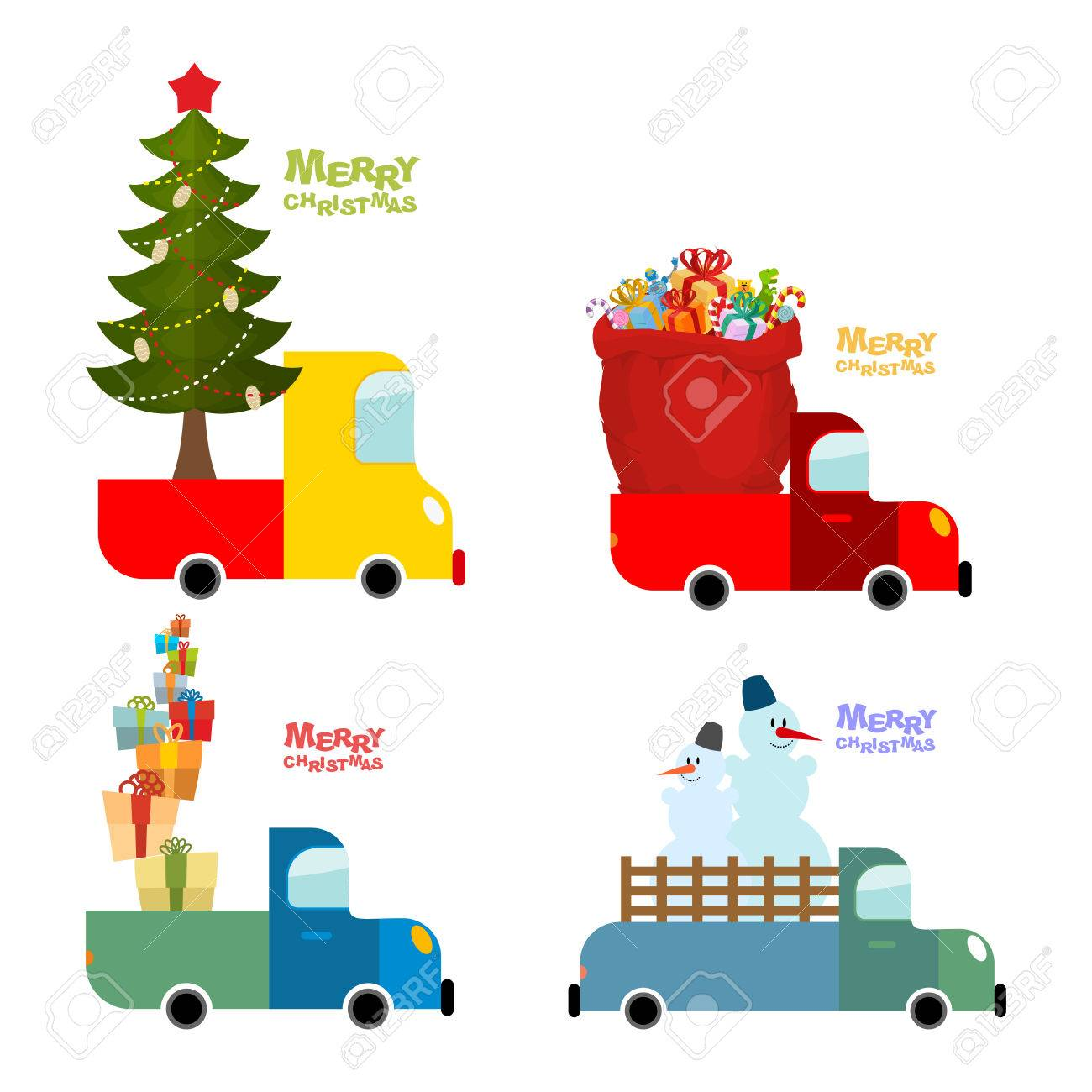 Juego De Transporte De Feliz Navidad. Máquina Lleva árbol De Navidad ...
