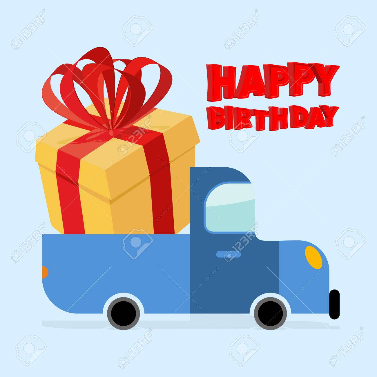 Happy Birthday Truck Carries Large Gift Box Yellow With Red Bow