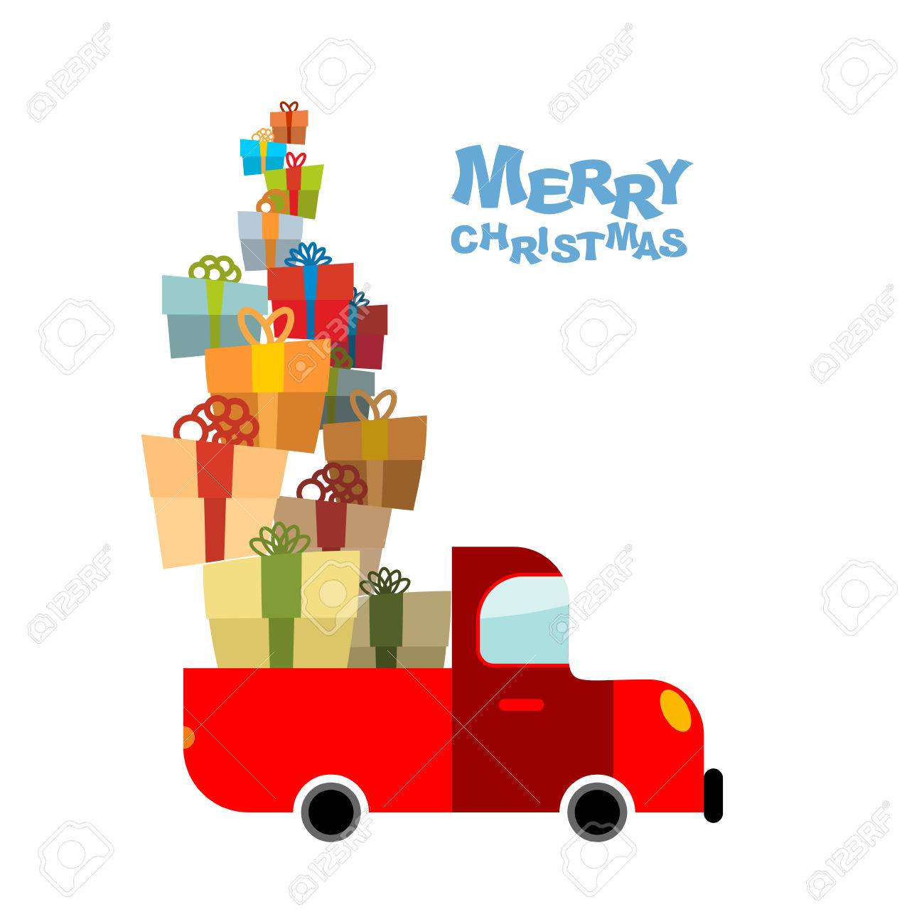 Merry Christmas Car And Lots Of Gift Box Truck Bunch Of Holiday