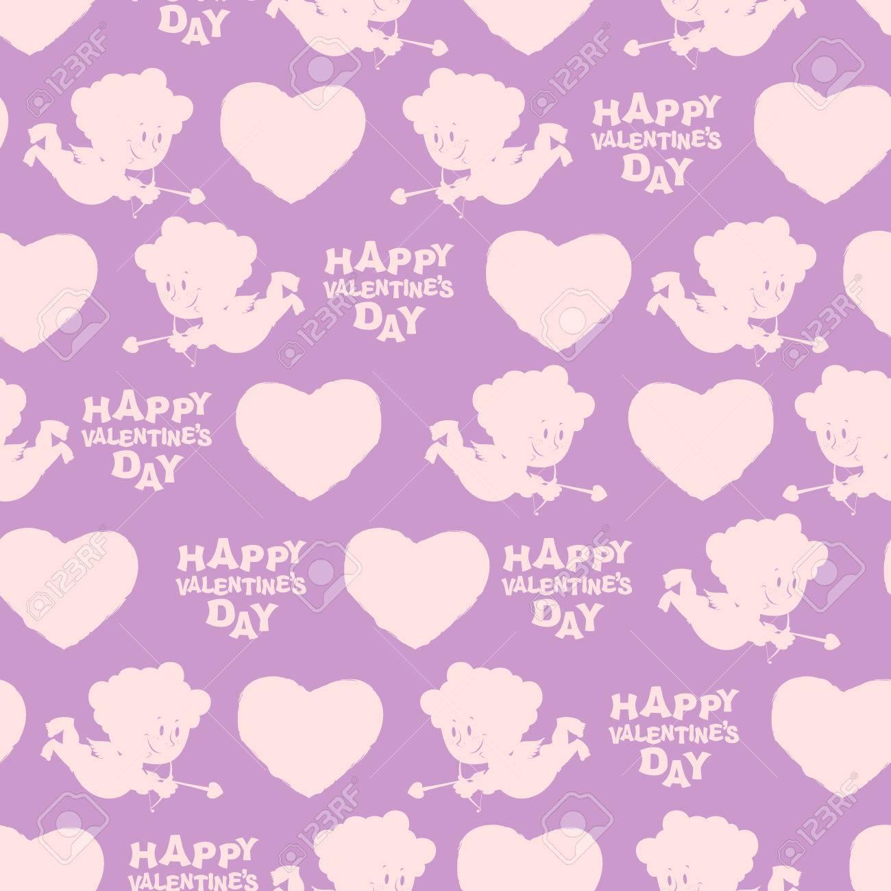 Día De San Valentín Patrón Transparente. Silueta De Cupido. Ángel De ...