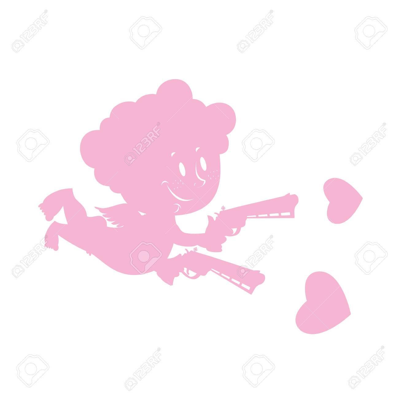 Amor Und Liebe Waffen Silhouette Des Kleinen Engel Mit Einem