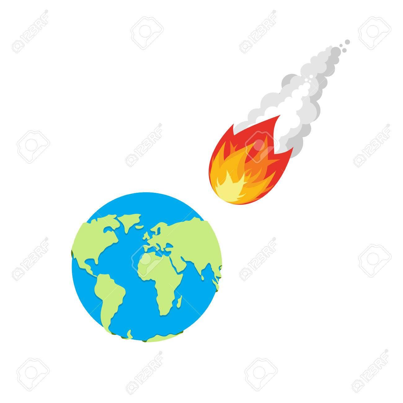 meteor and earth fireball flies on planet earth approaching rh 123rf com Moon Meteor Strike Meteor Crater Arizona