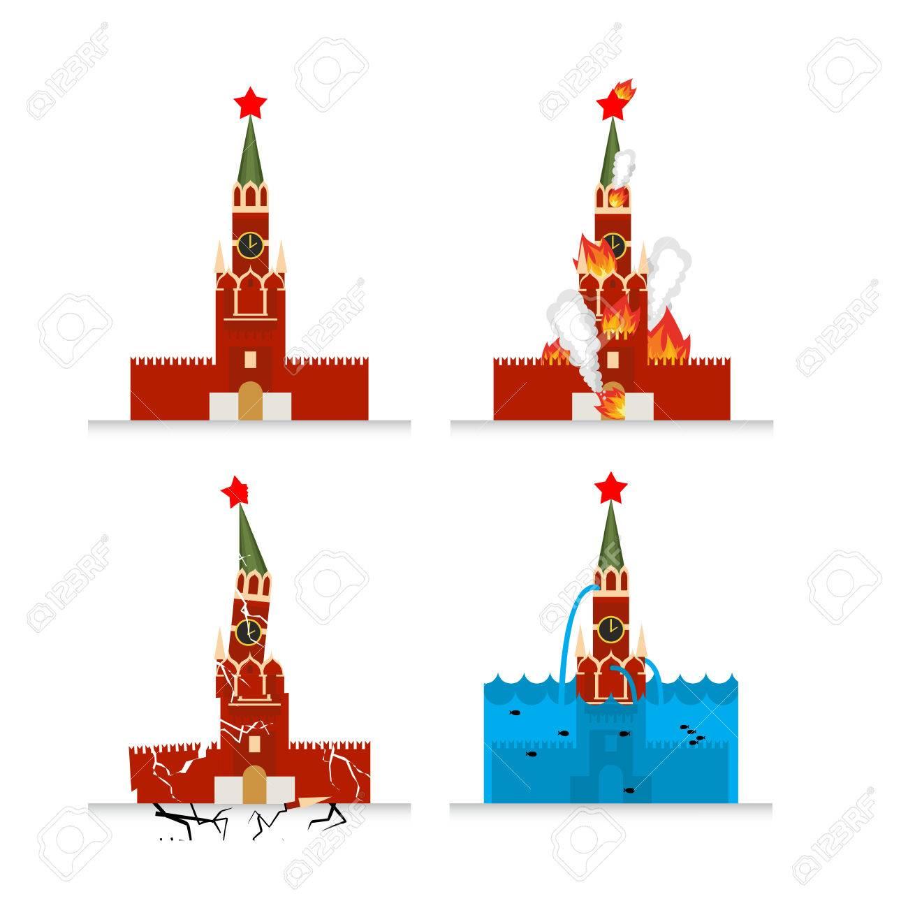 Destruction Of Moscow Kremlin Meteorite Flies Symbol Of Russia