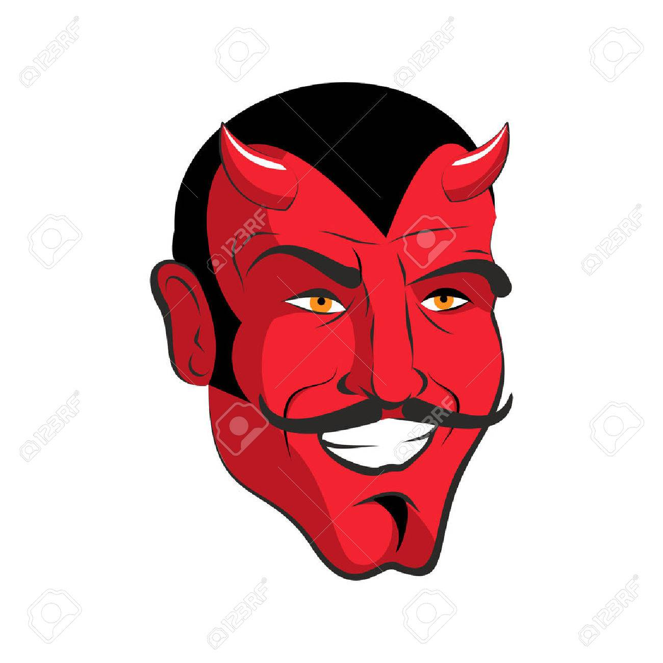 Red devil. Red head Merry demon with horns. Satan with mustache. Mephistopheles in with smile. - 51899496