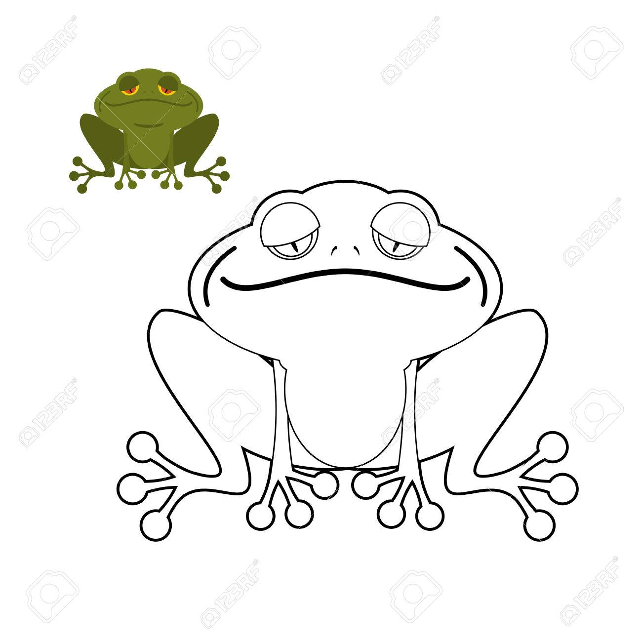 Frog Coloring Book. Funny Amphibious Reptile. Animal From Swamp ...