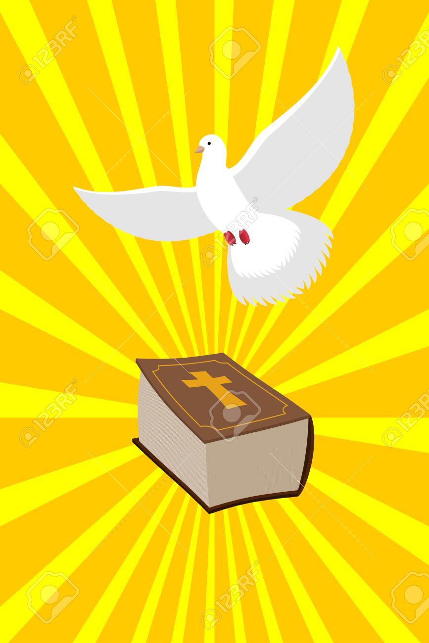 Bible And White Dove Symbols Of Christianity Pure White Dove