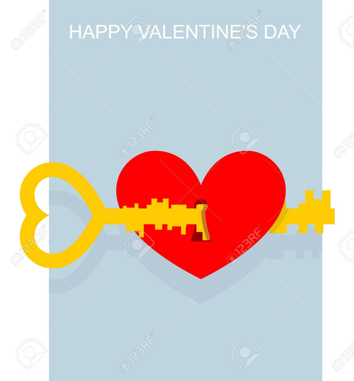 Valentines Day Key To Heart Large Complex Key Opens Keyhole