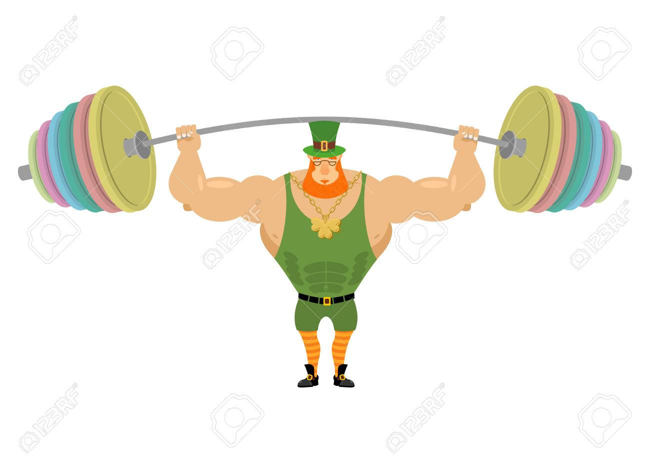 Leprechaun And Barbell Sports. Bench Press Barbell Above His ...
