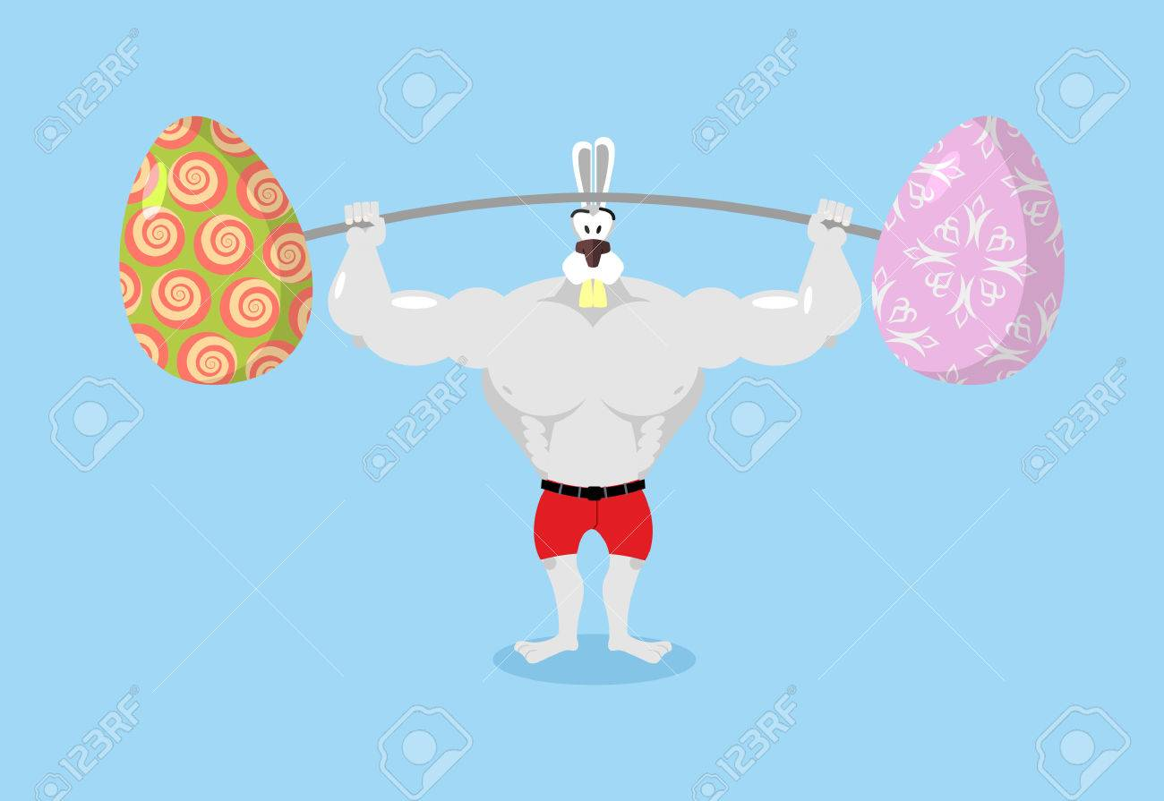 Strong rabbit holding barbell and Easter eggs. Sports for Hare. Traditional Easter egg. Happy Easter. Animal bodybuilder - 53933177