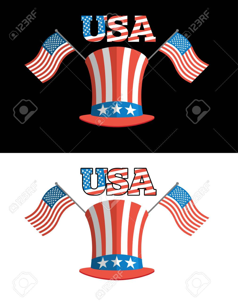 Set For Elections In America Uncle Sam Hat American Flag Set
