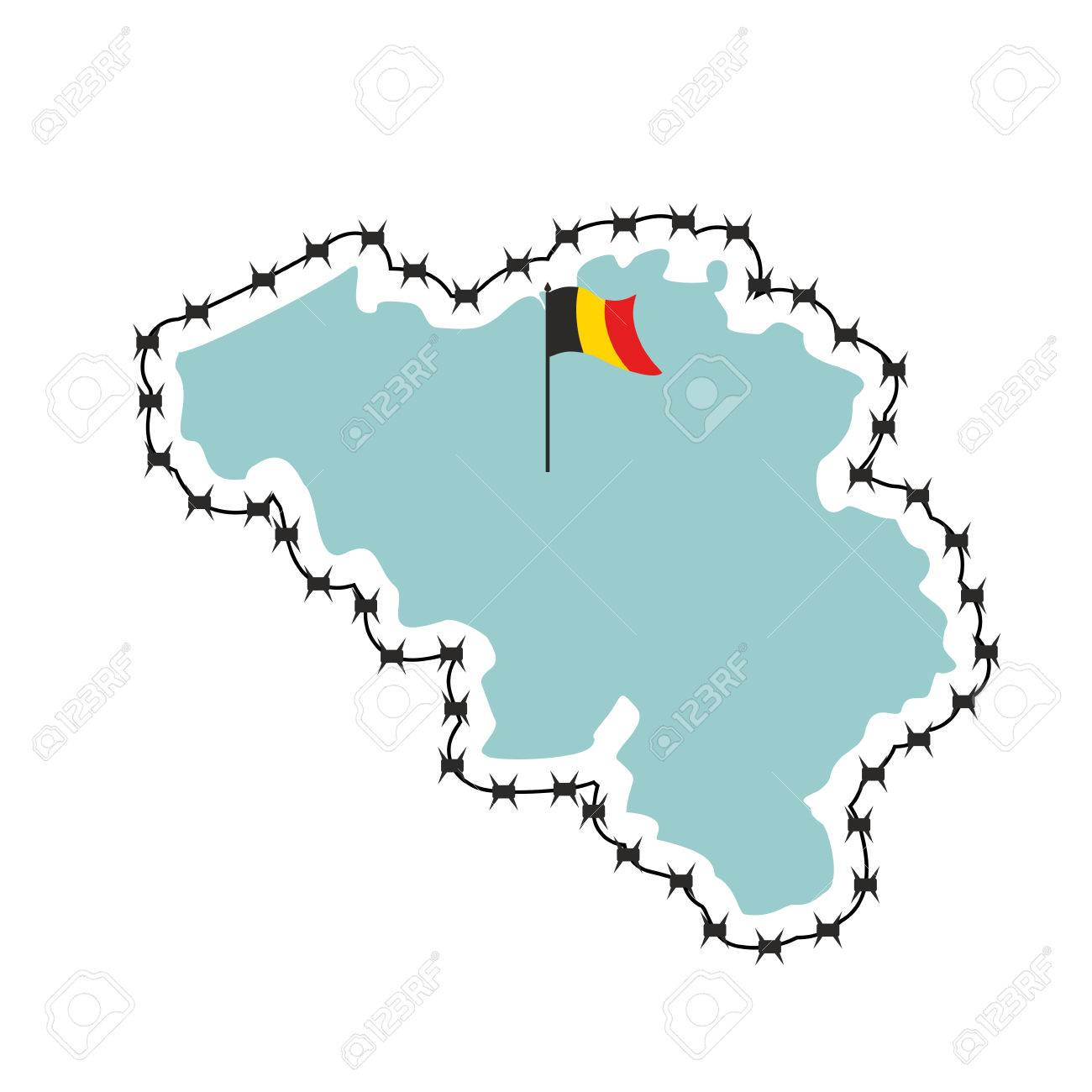 Belgium Map Map Of States With Barbed Wire Country Closes Border - Clipart us map border security