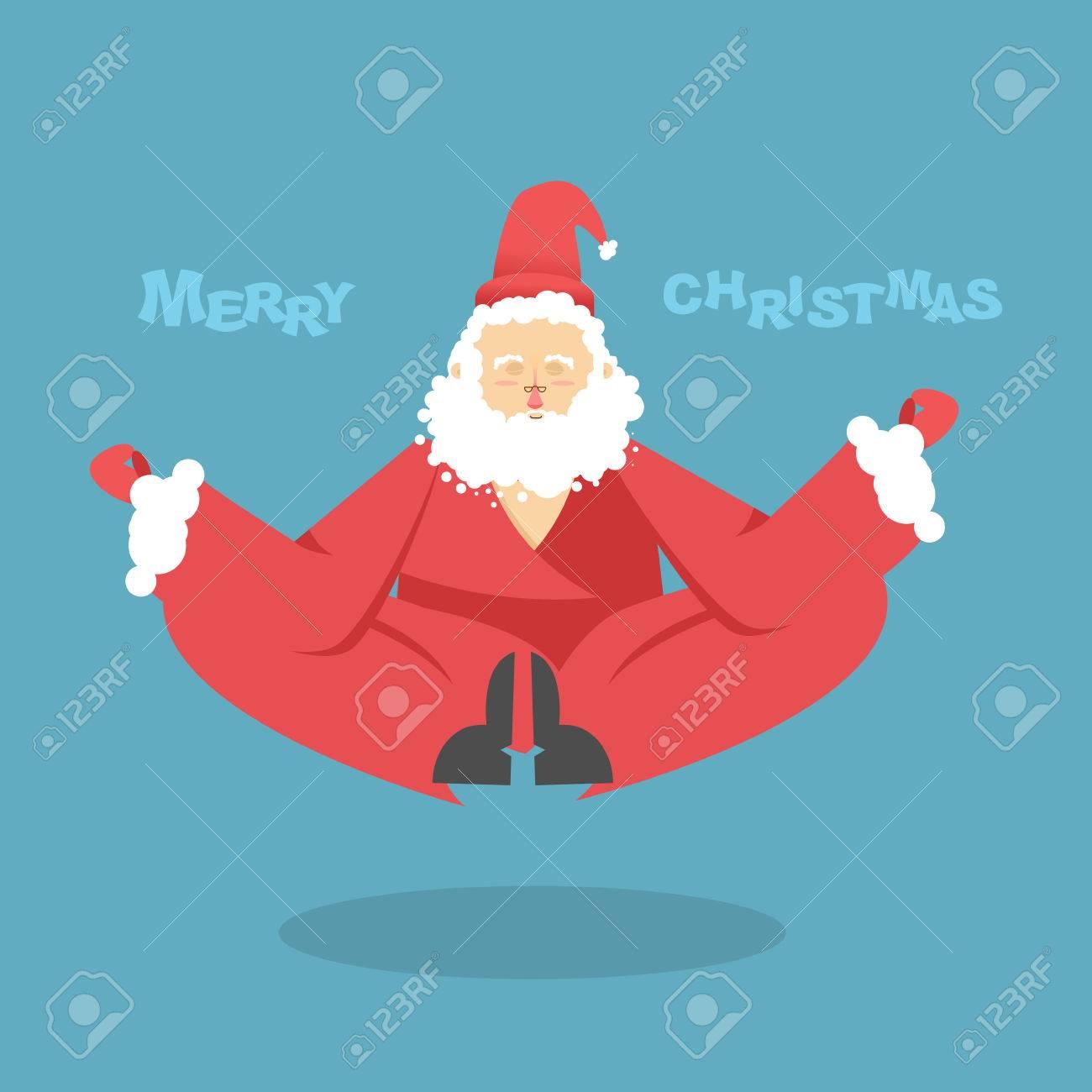 Auguri Di Natale Yoga.Babbo Natale Yoga Natale Yoga Babbo Natale Yogi Medita Babbo Natale E Impegnata Nello Yoga Di Natale L Illuminazione E Babbo Natale Illuminazione