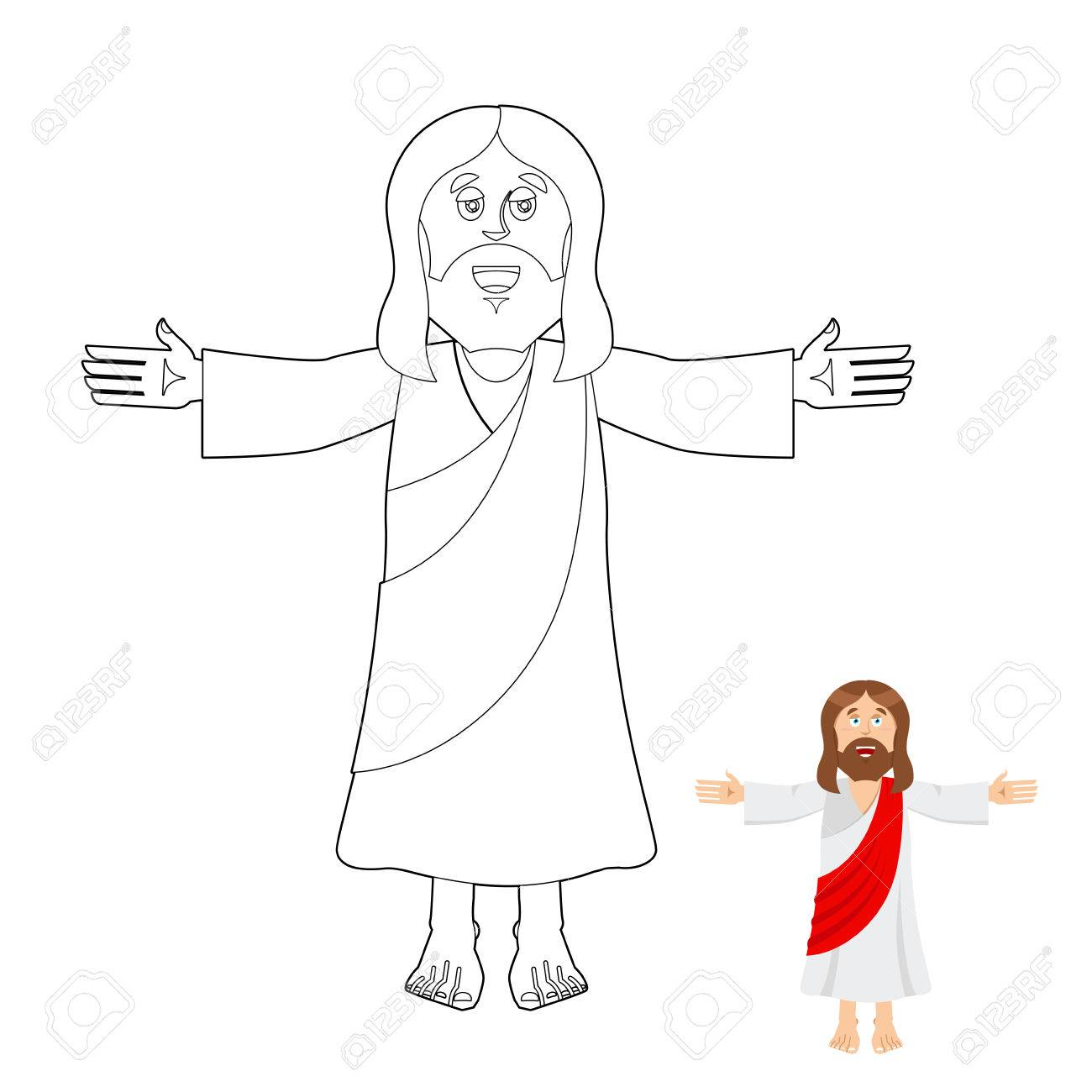 Jesus Coloring Book. Jesus Christ Drawing For Children. Linear ...