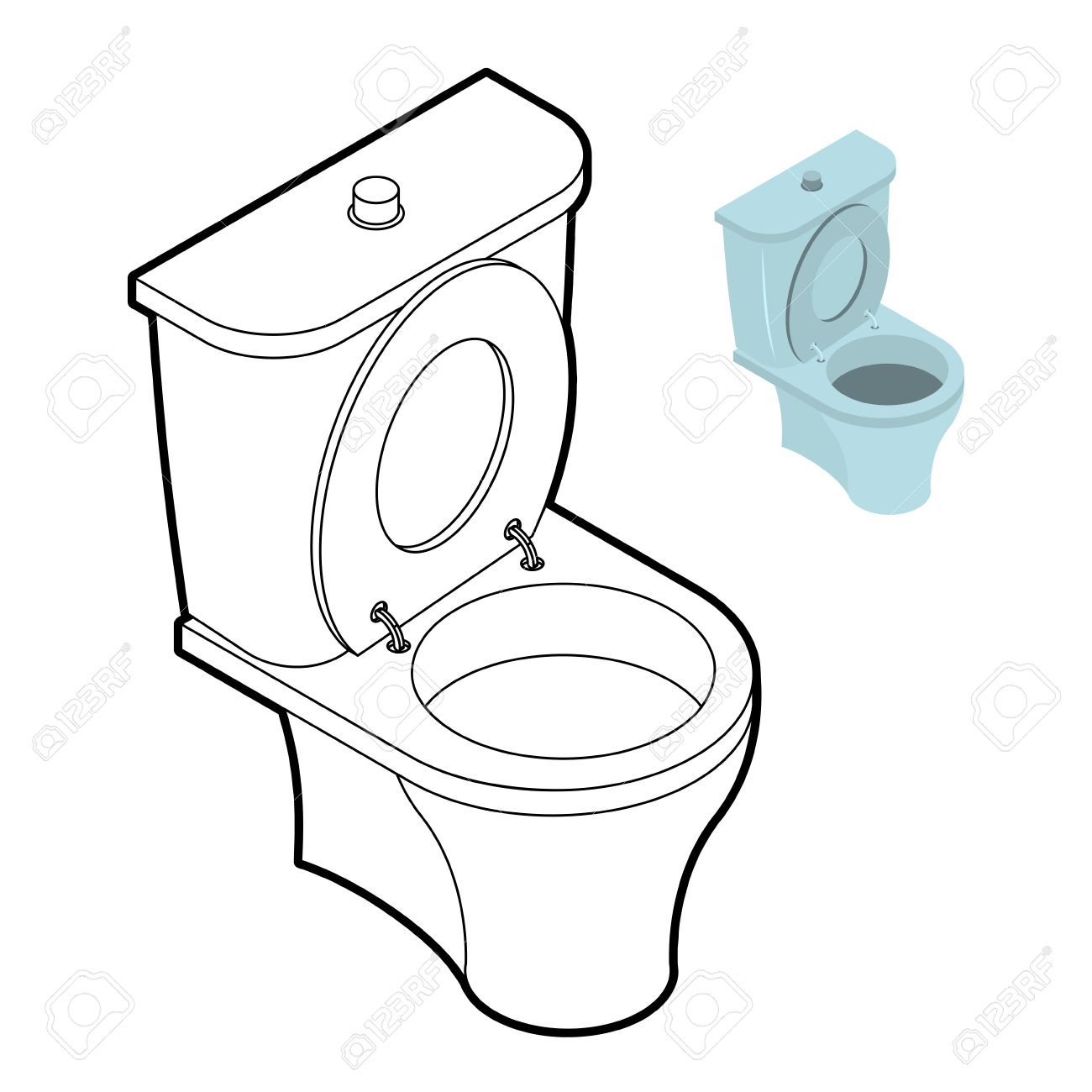 Bathroom and toilet accessories - Toilet Wc Coloring Book Bathroom Accessories In Linear Style Stock Vector 54868979