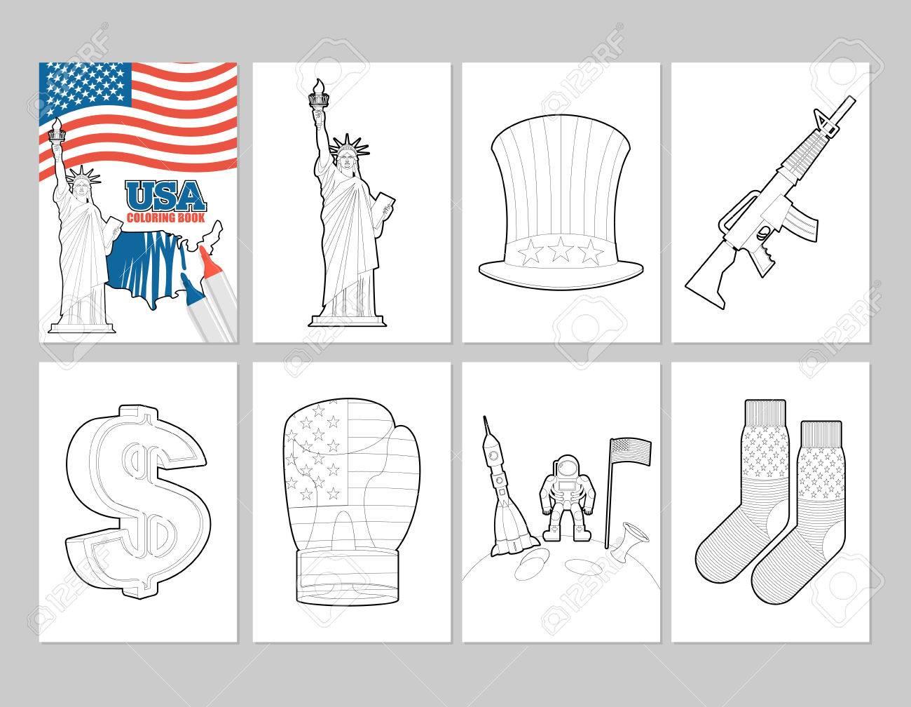 Coloriage Usa.Usa Livre De Coloriage Illustrations Patriotiques Dans Le Style