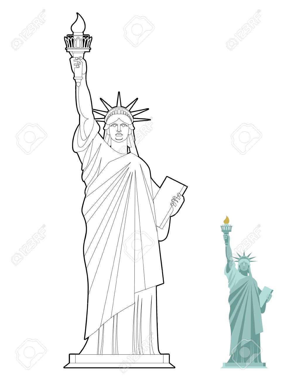 Vettoriale Statua Della Liberta Libro Da Colorare Simbolo Di