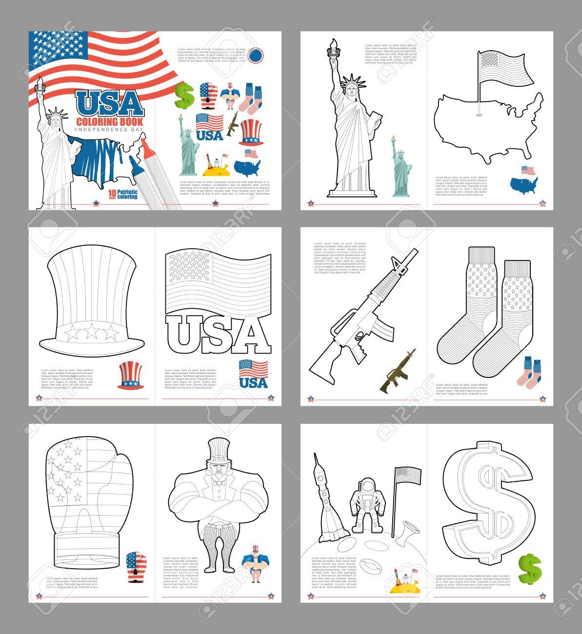 USA Malbuch. Pattic Buch Zum Färben. Nationale Symbole Amerika ...