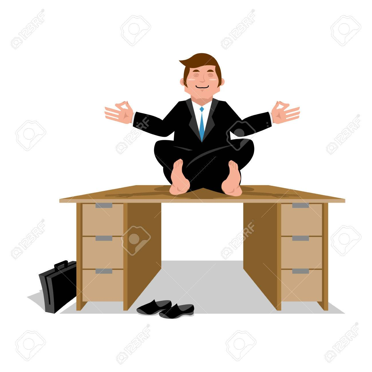 meditation businessman office. enlightenment office worker. business yoga. businessman meditating on table. manager sitting in lotus position. meditation