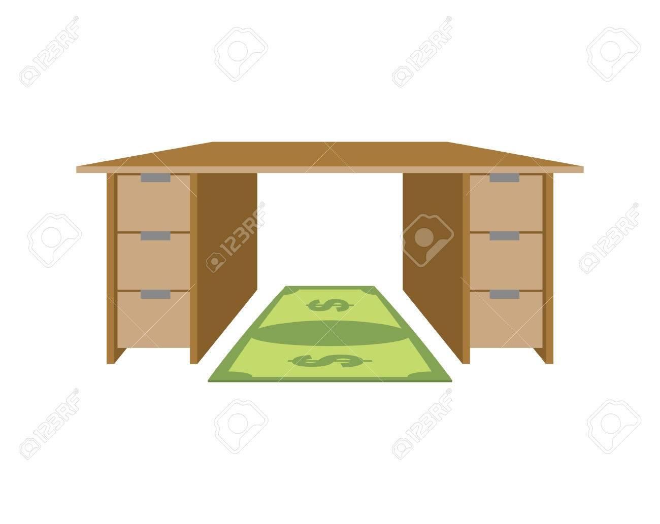 Tisch Und Teppich Dollar Matte Unter Die Fusse Von Geld Rechnung