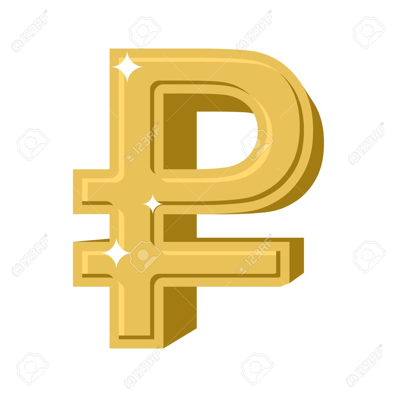Golden Russian Ruble Symbol Of Money In Russia Cash Sign In