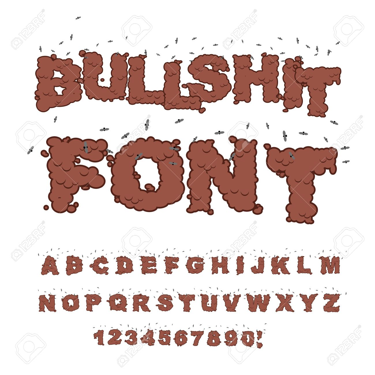 Bullshit Font Alphabet Of Poop With Flies Shit And Insects Bad Smell