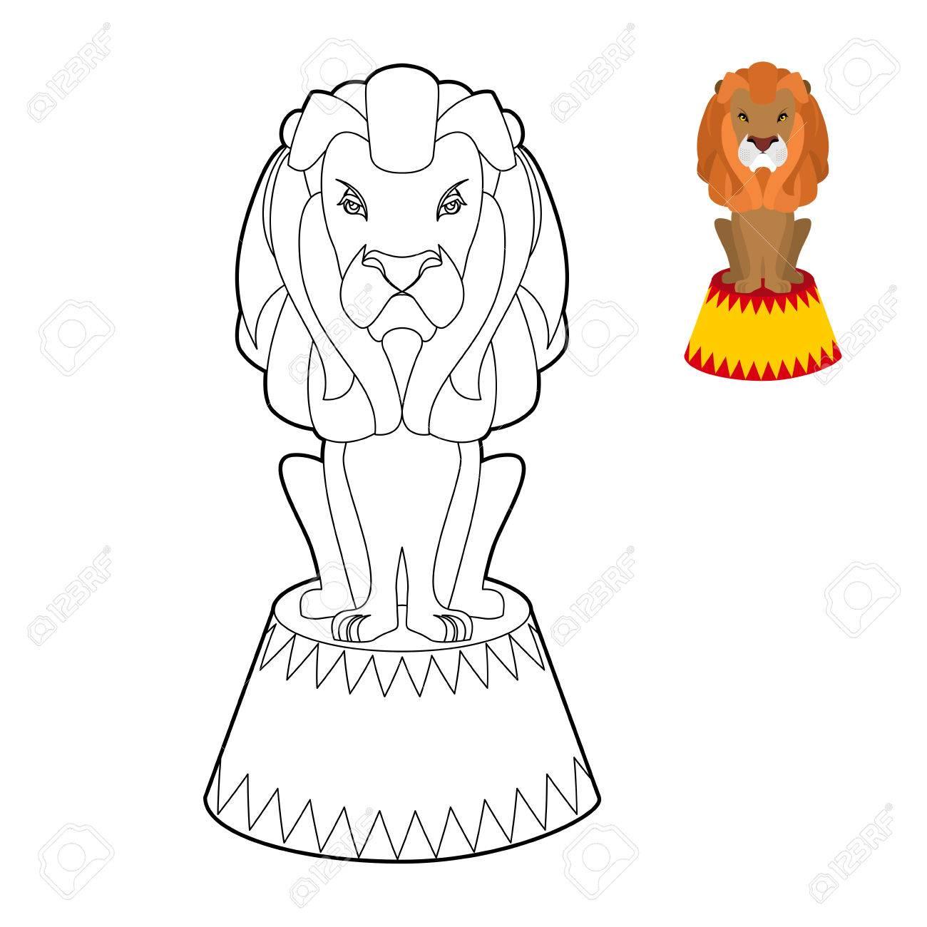 León Del Circo Libro Para Colorear. Animales Graves Grande En Estilo ...
