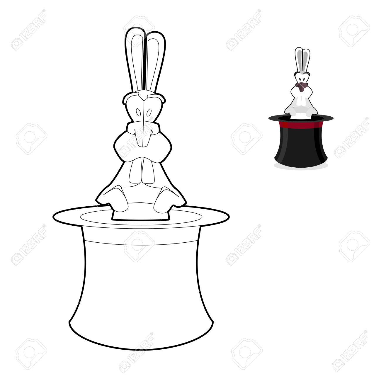 Rabbit In Magician Hat Coloring Book Focus In Linear Style