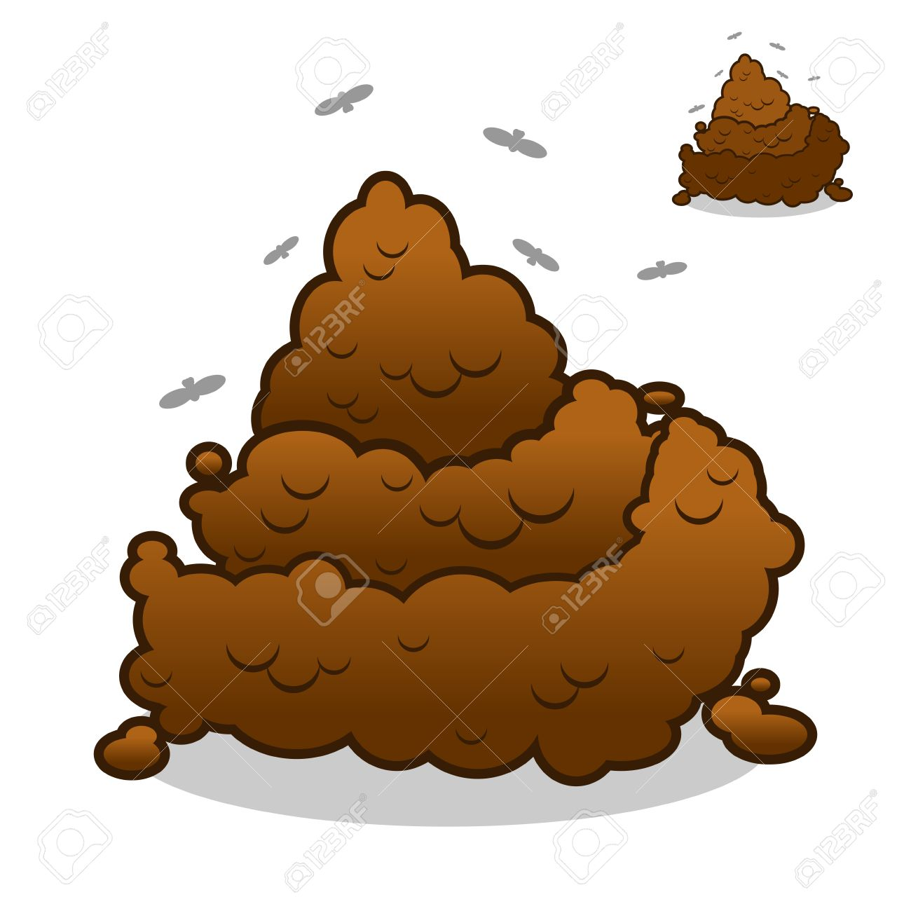 Poop. Pile Of Crap On White Background. Turd Isolated. Brown ...
