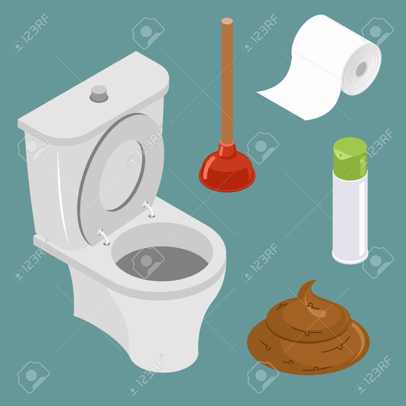 Restroom icon set. White toilet bowl. Spray air freshener. Red rubber plunger. Roll of toilet paper. - 58537986