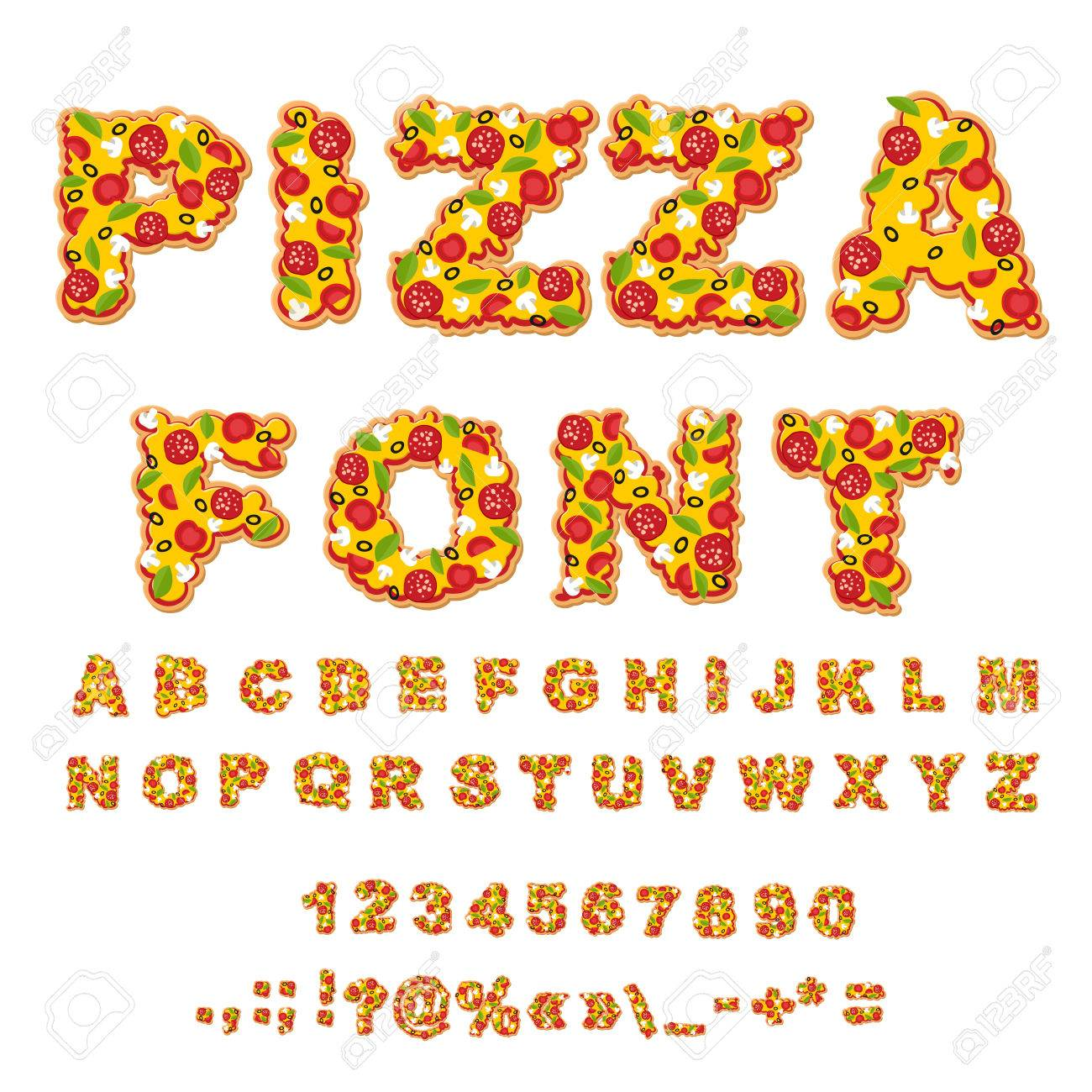 Pizza font. Letters dough. Food Alphabet. Fast food ABC. Italian food. fresh slice of pizza. numbers and punctuation marks. Tomatoes and mushrooms. Greens and sausage. Cheese and olives - 58538002