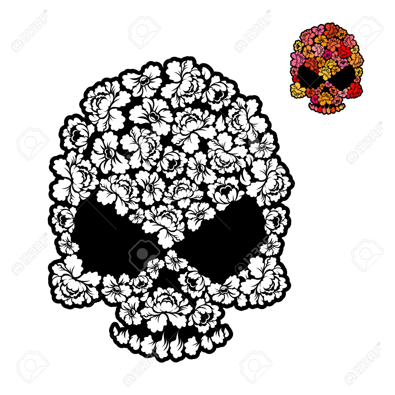 Flower Skull Coloring Book. Mexican Head Skeleton Of Rose Petals ...