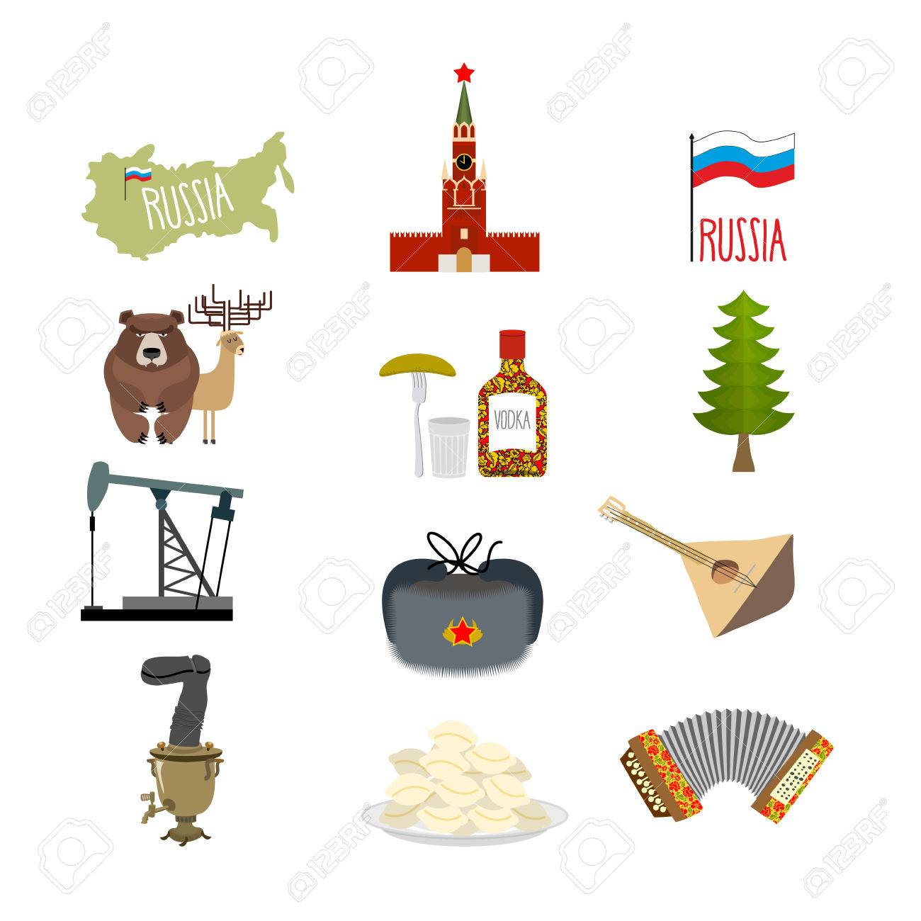 Set symbols and icons for russia kremlin and balalaika oil set symbols and icons for russia kremlin and balalaika oil rig and vodka buycottarizona