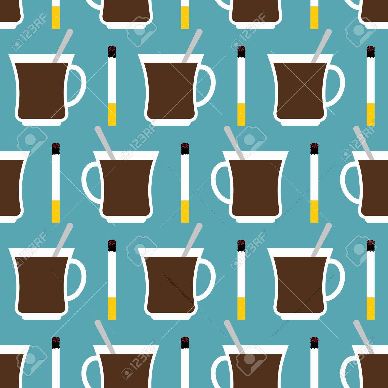 Kaffeetasse Und Zigaretten Nahtlose Muster. Best Of Tag Setzte Sich ...