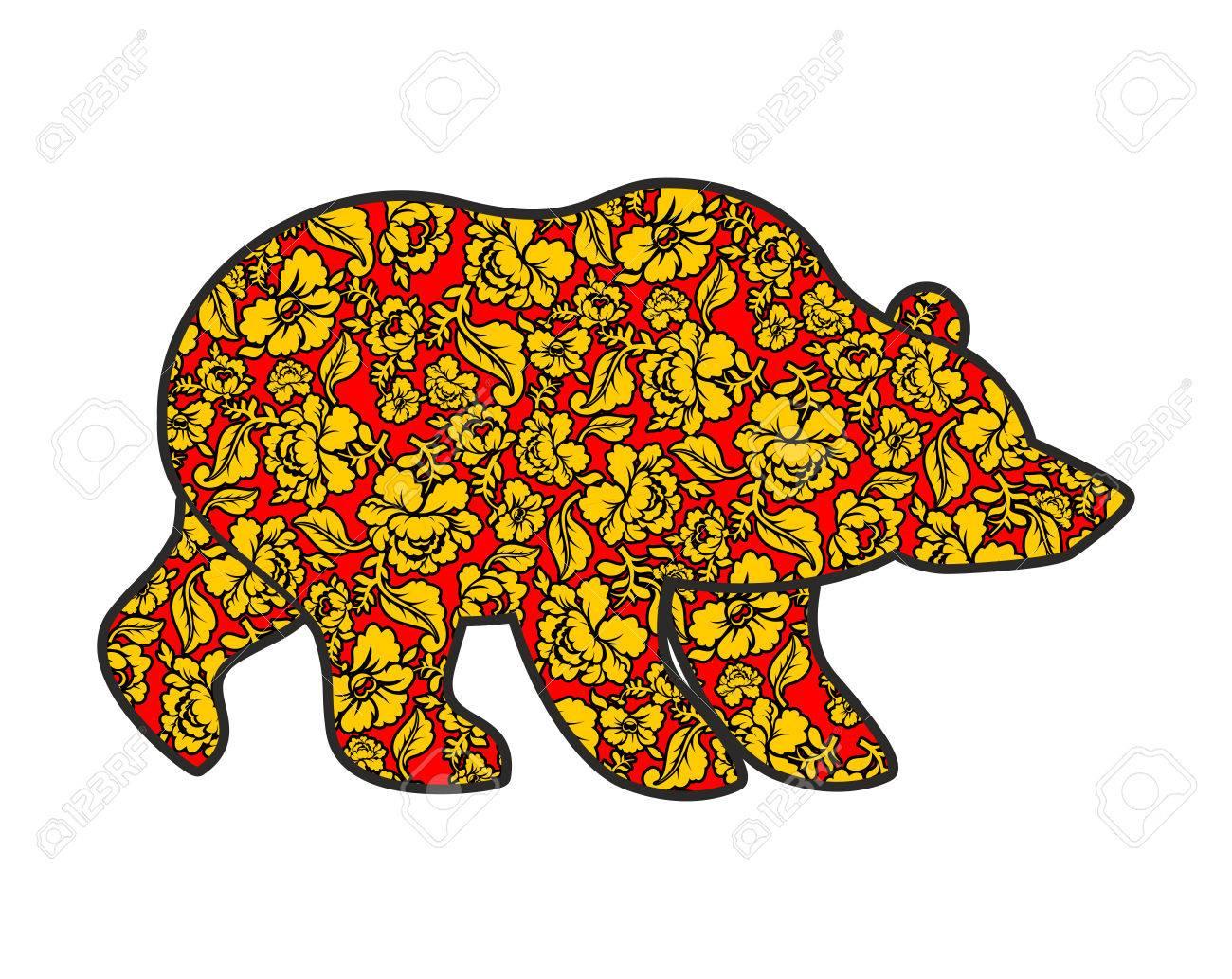 Russian Bear Hohloma Style National Folk Painting Of Flowers Wild
