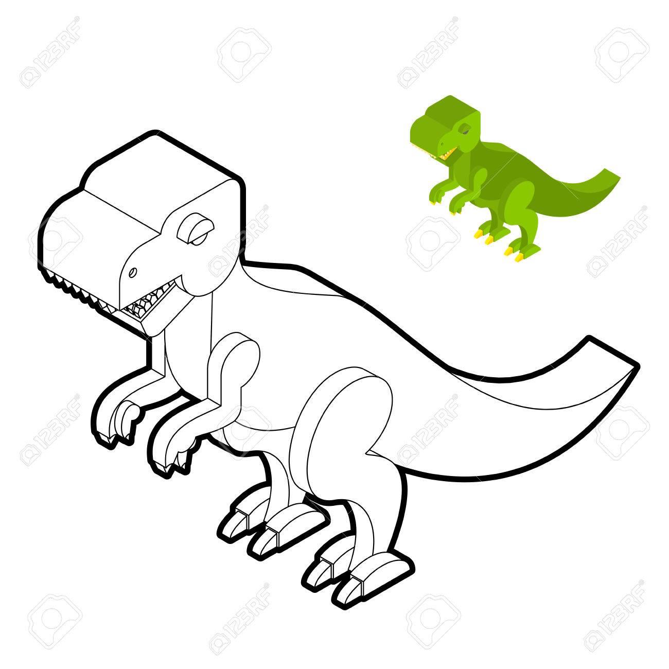Libro Para Colorear Tyrannosaurus Estilo Isométrico Dinosaurio