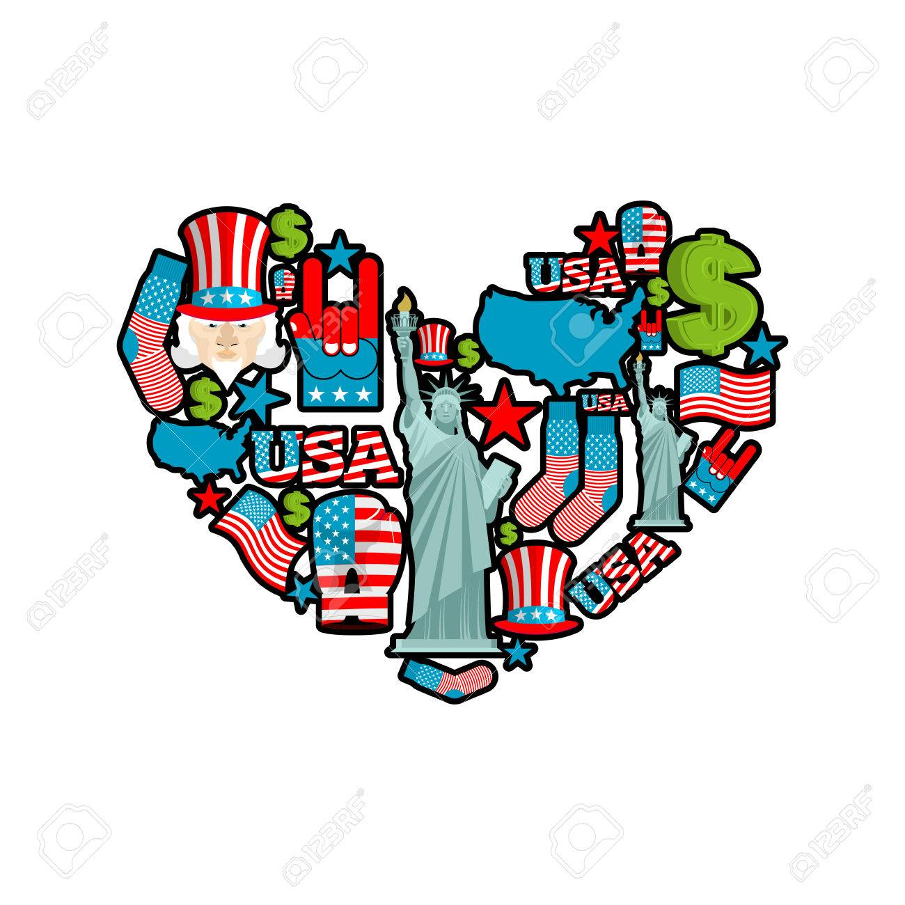 Usa love sign heart of united states traditional folk characters usa love sign heart of united states traditional folk characters map and flag of biocorpaavc Choice Image