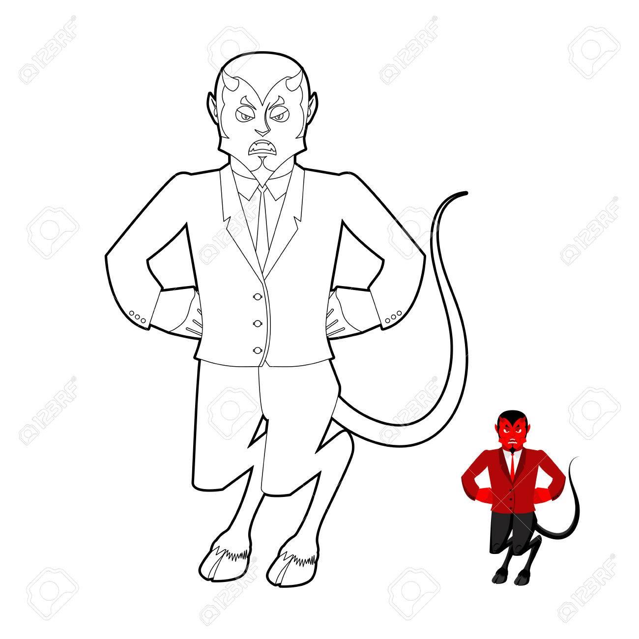 Livre De Coloriage Diable Demon Dans Le Style Lineaire Crafty Satan Avec Des Cornes Prince Des Tenebres Du Monde Souterrain Lucifer Patron Caractere Religieux Et Mythologique Esprit Supreme Du Mal Diablo Seigneur