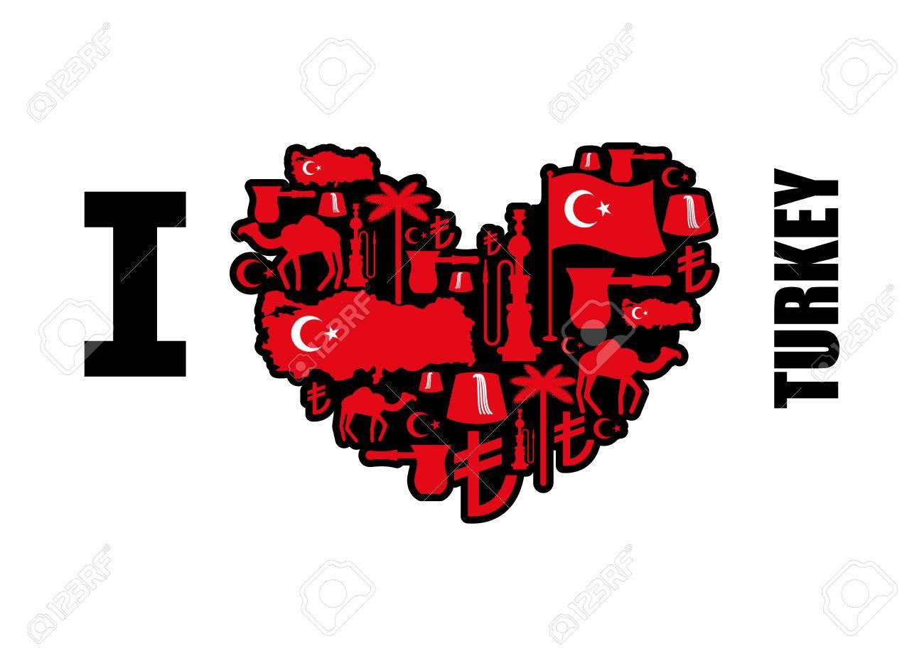 I love Turkey  Sign heart of traditional Turkish folk characters