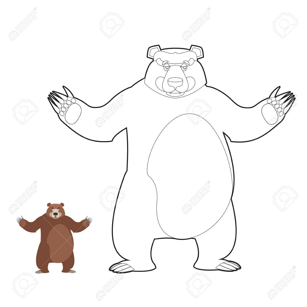 Bear Coloring Book Grizzlies In Linear Style Good Happy Wild Royalty Free Cliparts Vectors And Stock Illustration Image 60110315