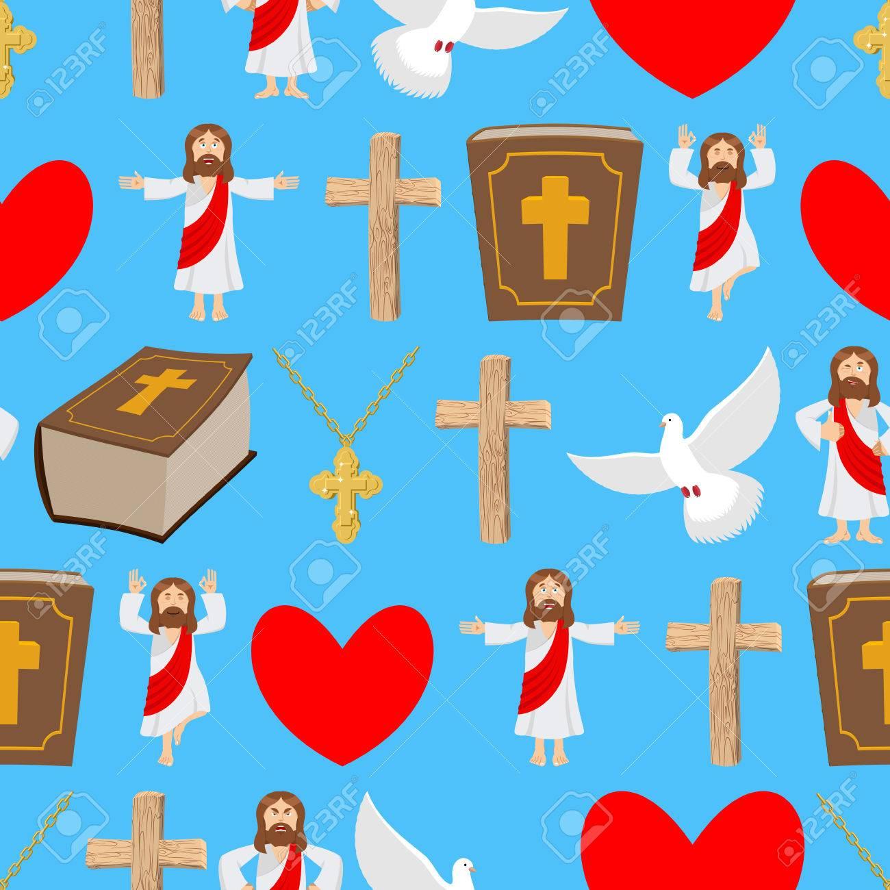 Holy Background Biblical Seamless Pattern Jesus And Bible